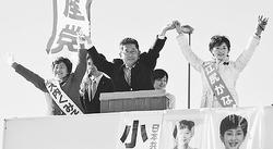 総選挙と県議選で躍進を/水戸・筑西・つくば 小池副委員長が訴え