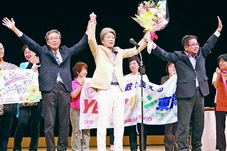革新都政をつくる会が総決起集会 新しい東京へ心一つに/鳥越候補「改憲の流れ断ち切る」/都知事選