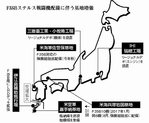 米戦闘機F35Bの岩国配備/日本全国 基地強化へ