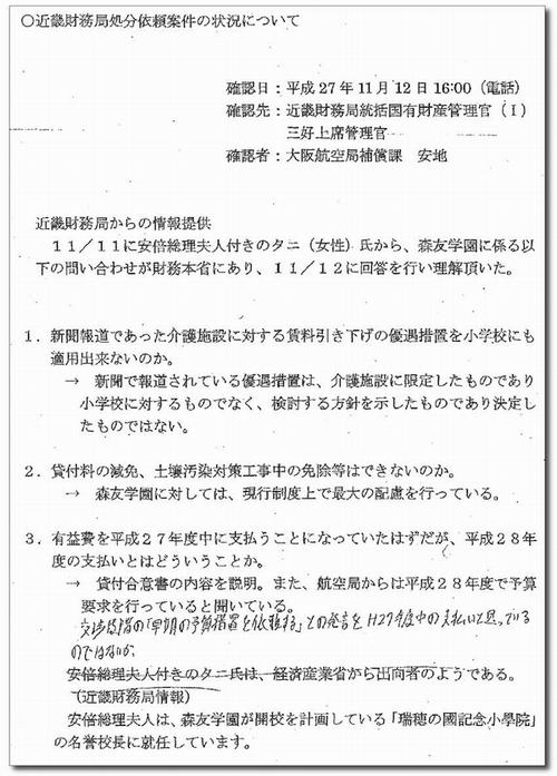 昭恵氏付職員が「優遇」依頼 新文書示し告発 「賃料引き下げを適用できないか」