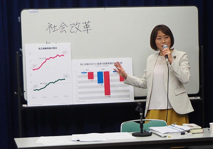 写真・講演する田村智子副委員長