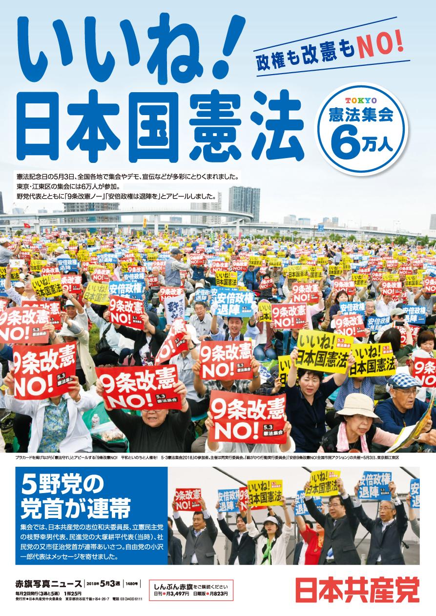 いいね!日本国憲法 政権も改憲もNO! 憲法集会6万人