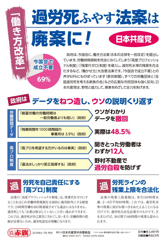 【チラシ】「働き方改革」過労死ふやす法案は廃案に!(カラー版)