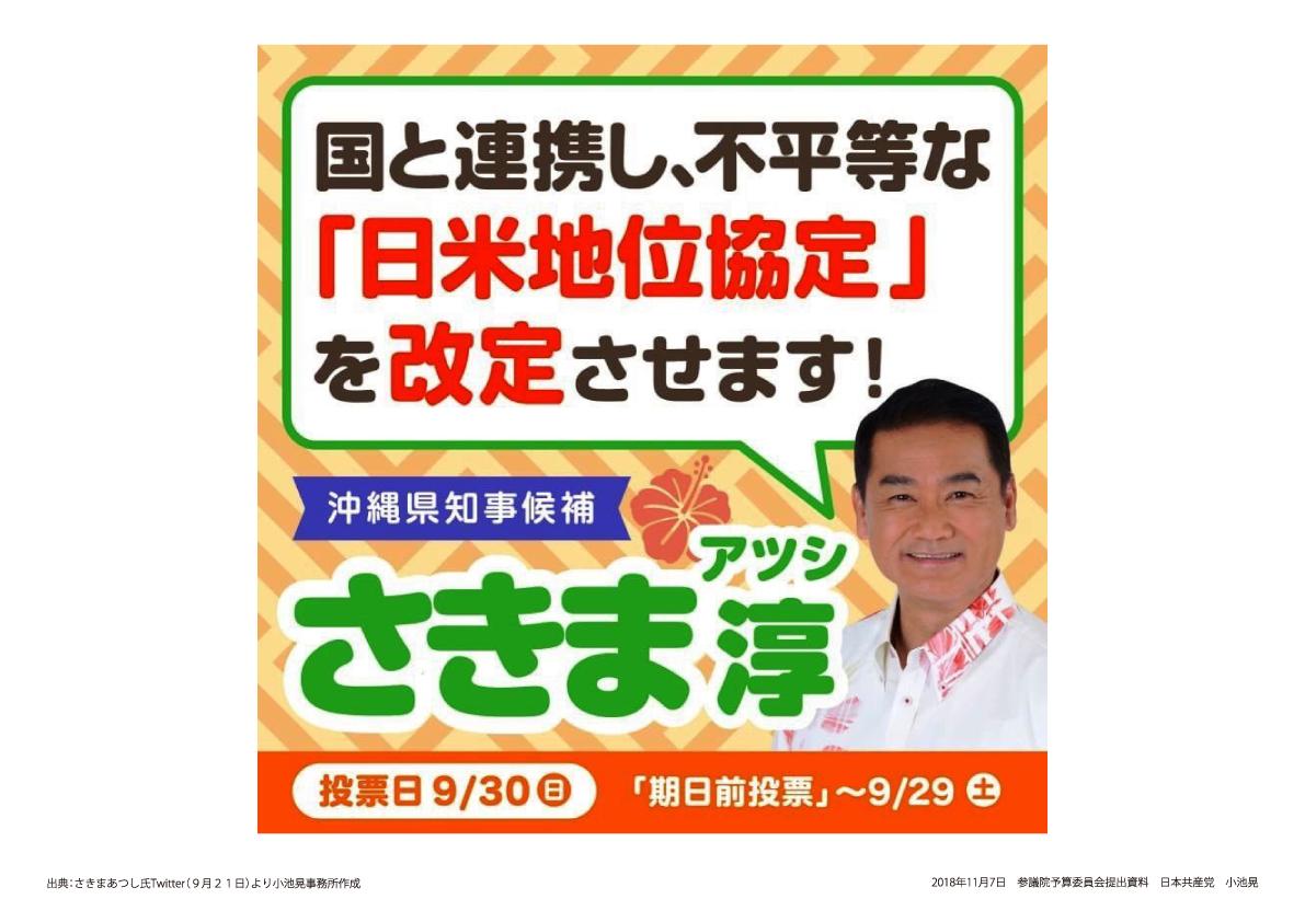 パネル・沖縄県知事選 さきま候補の公約