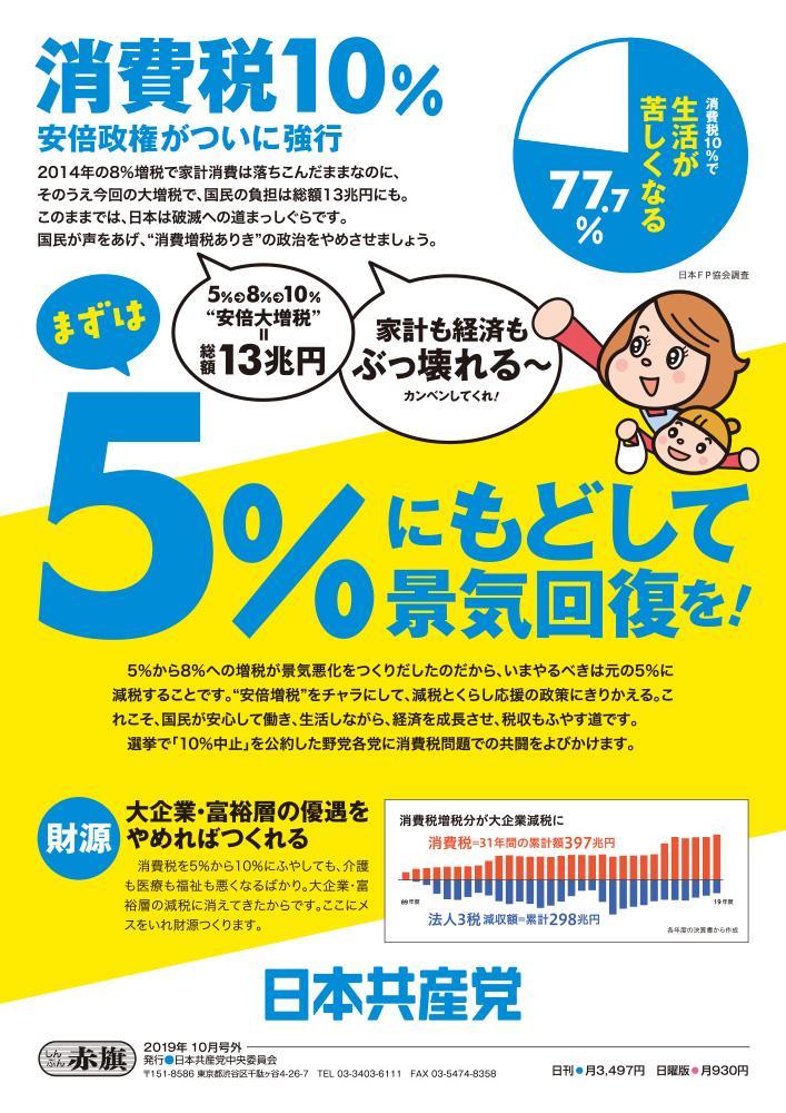 消費税10%安倍政権がついに強行 まずは5%にもどして景気回復を!(カラー)