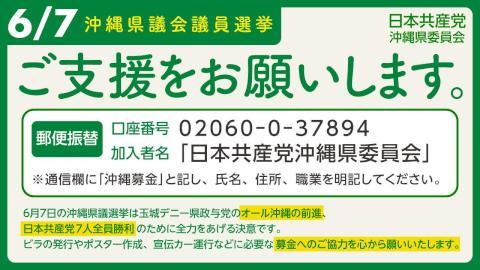 沖縄県議選へのご支援をお願いします